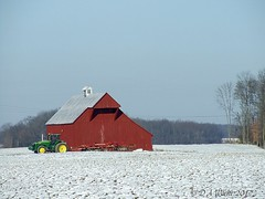 Frosty Morn (Picsnapper1212) Tags: barn tractor disc snow field agriculture farm farming winter ohio