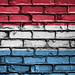National Flag of Luxembourg on a Brick Wall