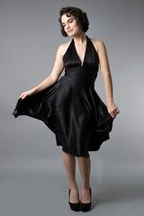 Julia (austinspace) Tags: woman portrait spokane washington model alienbees brunette dress marilynmonroe fan busstop