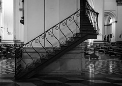 Stairs in black and white (Tiigra) Tags: padua veneto italy it padova 2014 architdetail church interior lattice monochrome repetition shape spiral stairs