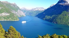 The ship on the fjord (michellemätzig) Tags: europe shadow light colour sea ocean blue ship white norway lake landscape fjord transport travle tree mountain nature water wow spring best beautiful awesome exciting incredible favorite fantastic good gorgeous
