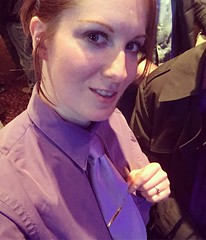 Kat Surth the purple princess (kat_surth) Tags: womenwearingshirtandtie womenwearingshirtandties womanwearingshirtandtie woman tie ties purpletie pantyhose stockings tiebar kat surth katsurth