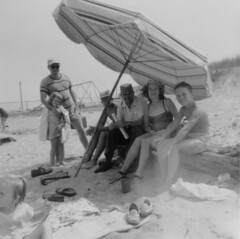 Vintage Jersey Shore (nate'sgirl) Tags: vintage bw blackandwhite scan photo family retro blancoynegro america familia jersey newjersey beach shore umbrella summer fun