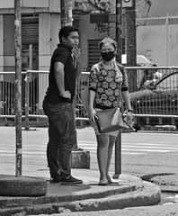 Hmm (Beegee49) Tags: street thoughtful standing corner mask filipina bacolod city philippines