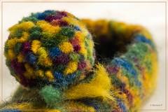 """Macro Mondays; Cloth/Textile """"Pompon"""" (blickwinkel77) Tags: 2017 makro hausschuh bommel filz gefilzt macro mondays cloth textile felt pompon"""