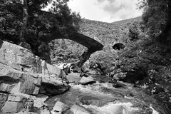 Lune's Bridge, Lune Gorge near Tebay, Cumbria, UK (Ministry) Tags: lunesbridge river lune gap gorge howgillfells tebay cumbria uk howgill rnblunelancashire old stone bridge valley rapids rocks tebaybridge monochrome