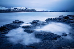 Seascape. (Geinis) Tags: sea seascape canon canon70d coast seashore mountain mountains landscape longexposure snow winter winterscapes iceland ísland nature northerneurope rocks europe