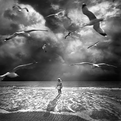 Excelsior (Kapuschinsky) Tags: blackandwhite bnw monochrome emotive moody surreal dreamy conceptual composite conceptualcomposite ocean sky birds beach water clouds outside center centersubject child baby faceless kapuschinsky fineart sony sonyalpha sonyphotography minolta excelsior dramatic dramaticlight dramaticsky squareformat lightandshadow inspirational