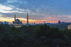 Majestic sunrise at Kuala Lumpur Federal Territory Mosque (Masjid Wilayah Persekutuan) (MEzairi) Tags: aidilfitri architecture asia beautiful blue building city dome eid eidalfitr famous federal hajj hour islam islamic kuala landmark landscape light lumpur majestic malaysia masjid modern mosque mubarak muslim persekutuan ramadan ramadhan raya religion religious sky sunrise sunset territory tourism tower travel view wilayah worship