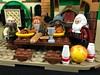 2017-088 - Bowling Banquet (Steve Schar) Tags: 2017 wisconsin sunprairie iphone iphone6s project365 lego minifigure dwarf dwarves banquet food table party balin dwalin bombur bofur bowling bowlingball bowlingpins