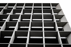 Repetition (Toni Camara) Tags: building architecture architectureporn architecturelovers architecturehunter minimal architectureminimal lookinguparchitecture lookingup glass steel lines colours contrast perspective avila london travel stunning street sky overcast cloudy boxes bnw black white
