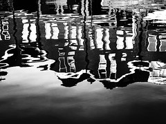 Day and night, night and day (Lucas Harmsen) Tags: blackandwhite graphic graphicart reflections waterreflections lucasharmsen water architecture urban