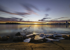 Sunset in Vuosaari,Helsinki. (Landscapehijacker) Tags: sunset sun evenind sky cloud longexposure water sea vuosaari helsinki finland ice rock rocks sony zeiss formatthitech gitzo
