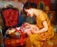 """The embroideress"" (1925) by Biagio Mercadante (Torraca 1892-Torraca 1971) - ""The hidden art treasures: 150 Italian masterpieces"" - Exhibition up to May 28, 2017 in Naples (Carlo Raso) Tags: biagiomercadante embroidery naples italy"
