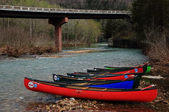 Lined Up and Waiting to Go - Canoes at Ponca Access on Buffalo River, Northwest Arkansas (danjdavis) Tags: canoes canoeing buffaloriver buffalonationalriver poncaaccess arkansas