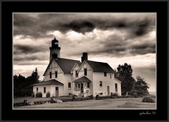 Lighthouse (the Gallopping Geezer '4.5' million + views....) Tags: lighthouse warning beacon ships boat ship freighter greatlakes lakesuperior mi michigan upperpeninsula up roadtrip historic old building structure canon 5d3 tamron 28300 geezer 2016 sepia toned blackwhite black white