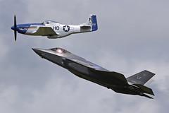 12-5052 (LF) LM F-35 Lghtning II & G-BIXL (472216) NA P-51D Mustang USAF  Historic Flypast RIAT 2016 RAF Fairford 10th July 2016 (michael_hibbins) Tags: