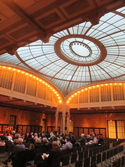 New York Public Library Auditorium - Celeste Bartos Forum 4523 (Brechtbug) Tags: celeste bartos forum auditorium glass ceiling light well courtyard new york public library 2017 nyc 42nd street next 5th avenue 04172017 april springtime spring industrial age interior steel rivot columns sculpture art lecture halls hall ave st side facade stairs front entrance bryant park