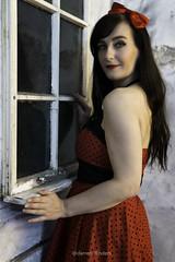 Through The Window (Darren Flinders) Tags: frequencyseperation red reddress window sigma sigmalens photoshopcc lightroom nikcolorefex nikcollection sony sonya6000 sonycamera model femalemodel brunette