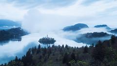 Fog at Lake Bled (Dejan Hudoletnjak) Tags: lake bled slovenia landscape fog foggy reflections morning sunrise