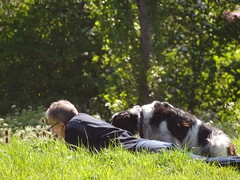 Share A Book With A Best Friend (Balticson) Tags: spring grass meadow companionship dogs taunton somerset reading