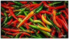 Spice Of Life (dougkuony) Tags: chilies peppers spice stilllife red green food hdr