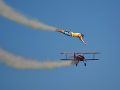 Smoke Trails (swong95765) Tags: sky fly glide guy man smoke biplane flying dive humor fun