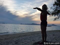 Yoga sun salutations at Kradan (2) (Eric Lon) Tags: kradanyogaavril2017 yoga sunrise salutations asanas poses postures beach plage mer thailand kradan island ile stretching flexibility etirement souplesse body corps fitness forme health sante ericlon