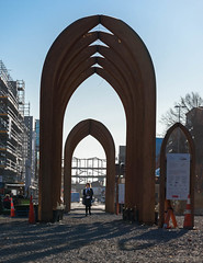 Walking Under the Arches (Jocey K) Tags: newzealand southisland canterbury christchurch buildings architecture arches gapfiller thecommons sky cbd shadows people rebuild contruction nikond750