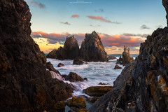 Camel Rock. (Brook Attakorn BK) Tags: aqua australia beautiful beauty bermagui blue camel clouds colours dreamy geology jagged ocean orange peach picturesque place point pretty red rock rocks scenery scenic seascape seaside sky sunset surreal tourism travel turquoise vacation volcanic water yellow cloudsstormssunsetssunrises