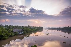 Bình Minh Sông Ba Lai (Rồng Sinh Đôi) Tags: landscape violet river vietnam sunrise dawn reflect delta blue cloud