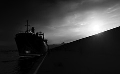 on the pier (Katerina Atha) Tags: pier harbor harbour ships people walking sunlight bw monochrome