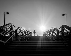 Spotlight on (Dan-Schneider) Tags: streetphotography schwarzweiss street silhouette sky sun blackandwhite bw noir human monochrome