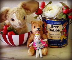 Bunka & friends (DollyBeMine) Tags: old baby rabbit bunny eye japan vintage toys tin japanese big doll display antique rustic can plush decorating mohair teddybear syrup eyed cloth decor canister steiff brerrabbit primitive bunka shabbychic