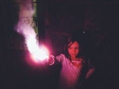 Cast Spell (itchinstitchin) Tags: light girl dark child witch wand daughter spell flame cast sparkler