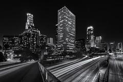 LA Skyline (John QT) Tags: longexposure bridge buildings nightshot lamppost 4thstreet photo5 lightstreaks unionbank laskyline fall2012