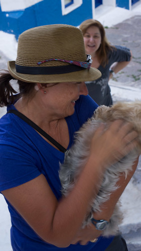 Lisa finds a little dog to love on Poros
