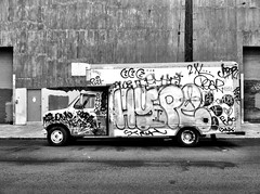 hype (eb78) Tags: sf sanfrancisco california ca blackandwhite bw monochrome truck graffiti tag hype grayscale greyscale iphone iphoneography