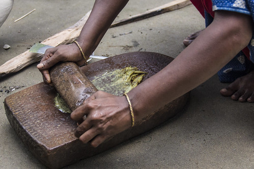 Fried Mola are ground in to a paste in Rangpur, Bangladesh. Photo by Holly Holmes, 2013