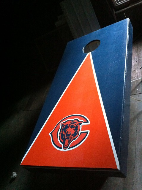 Bears Cornhole board Im just finishing up.