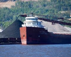 Discharging coal (rexp2) Tags: boat ship greatlakes lakesuperior laker freighter selfunloading nikond300 afsnikkor28300mmf3556gedvr vacation2013fall