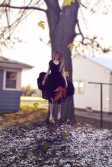 303/365 : autumn's last stand (Mysterious Fetus) Tags: autumn selfportrait snow leaves photomanipulation self flying floating levitation float levitate project365