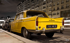 Error? (Raph/D) Tags: street old france color car yellow night jaune canon pose french found eos lights design cool long shot error style spot voiture trail 7d 404 catchy peugeot sixties pininfarina stylist franaise canoneos7d carrossier