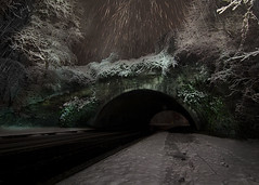 Winter (Blinkofanaye) Tags: bridge winter light snow night january tunnel bethesda 2014