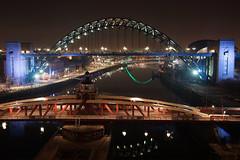 The Night Tyne (Neil Pulling) Tags: uk bridge england night river nightshot bridges gateshead tynebridge nightview swingbridge floodlit newcastleupontyne rivertyne tyneandwear tynebridges floodlighting rnbtyne