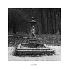 Winter fountain (fsanty) Tags: fuji fujifilm xt1 35mmf2 35mm darkroom lightroom vsco monochrome blackwhite square 1x1 fountain park brussels boisdelacambre belgium snow cold winter mood