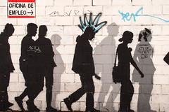 Oficina de Empleo (Bruce Poole) Tags: brucepoole 2016 streetart mural art spain zaragoza aragon wallart contemporaryart brucesspace urban urbano cite city ville metropolitan protest unemployment dolecue