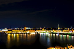The View From Monteliusvägen (nydavid1234) Tags: nikon d600 nydavid1234 stockholm sweden sodermalm södermalm monteliusvagen monteliusvägen landscape city night lights water reflections wideangle longexposure highlights cityscape urban gamlastan spire spires steeple steeples long exposure