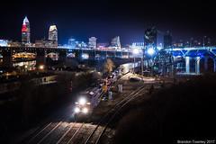CSX on Norfolk Southern in Cleveland, OH (Brandon Townley) Tags: trains railroad ns csx bnsf cleveland ohio night tamron35mm lights bridge liftbridge drawbridge