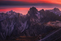 Devil's Peaks (albert dros) Tags: trescime sunrise sunset albertdros mountains italy rocks mordor dolomites devil travel red evil peaks atmosphere tourism devilspeaks mountainrange